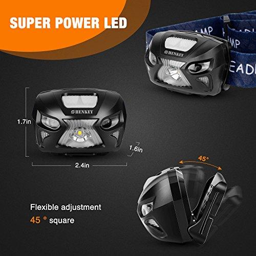 shenkey Lampes Frontales LED,phares Super Brillants Rechargeables USB 300 lumens, 6 Modes d'éclairage, Del Blanche et Rouge idéales pour Le Camping, la Course, la randonnée et la Lecture