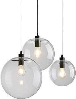 YINGTECH - Lámpara colgante de bola de cristal vintage industrial con cordón negro abierto para cocina (30 cm)