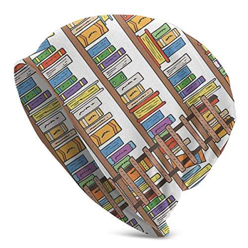 U Shape Estantería de Biblioteca Moderna con Escalera, Unisex, Mujeres, Hombres, Gorro Holgado, Gorro de Calavera Holgado de Gran tamaño, Gorro de Punto elástico