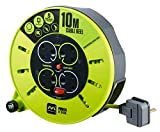 Masterplug Pro-XT Four Socket Medium Cassette Cable Reel Extension Lead with Winding Handle, Thermal Cut Out and Power Switch, 10 Metres, High Visibility Cable, Green