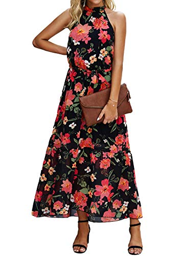 PRETTYGARDEN Women's Casual Halter Neck Sleeveless Floral Long Maxi Dress Backless Loose Ruffle Sundress with Belt (Floral Orange, Small)