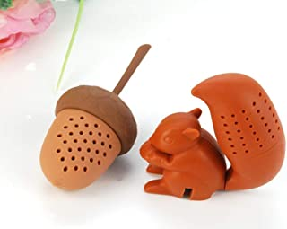 Cute Squirrel Shape & Acorn Nut Tea Infusers set Loose Leaf Strainer Herbal & Fruit Tea Filter Diffuser Food Grade Silicone in brown Lot of two Nature Wildlife