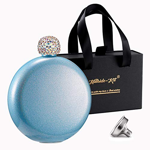 Booze Shot Flask- AB Crystal Lid Creative 304 Stainless Steel Wine Alcohol Liquor Flask for Women Girls Men Party Hand size Flask-5OZ (Glitter Blue)
