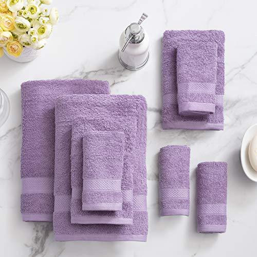 Welhome 100% Cotton 8 Piece Towel Set (Lilac); 2 Bath Towels, 2...