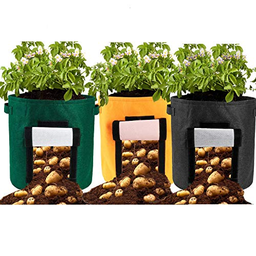 Takefuns 3 PCS 15 Gallon Potato Planter Bag,Grow Bags,Nonwoven Cloth Fabric Pots Planting Bags with Handle,Window Vegetable Bags for Carrot,Onion Illinois