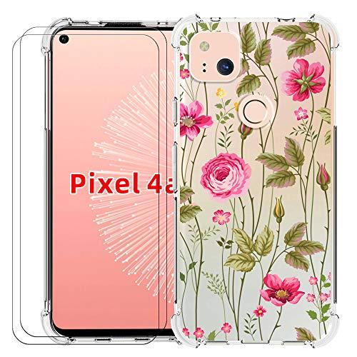 shumei Google Pixel 4A Handyhülle + 2 Displayschutzfolien, Weich und Flexibel TPU Stoßfest Transparent Bumper Back Cover Passend für Samsung Google Pixel 4A Creative Phone Case (Flower Vine)