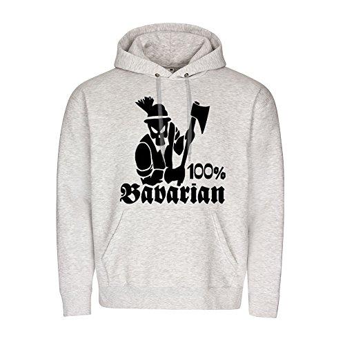Copytec 100% Bavarian Bayern Bayrisch Tradition Stolz Axt Kämpfer Hoodie #19765, Größe:M, Farbe:Grau