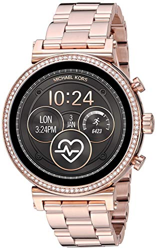 Michael Kors Access Women's Sofie Heart Rate' Touch-Screen Smartwatch with Stainless-Steel Strap, Rose Gold, 18 (Model: MKT5063)