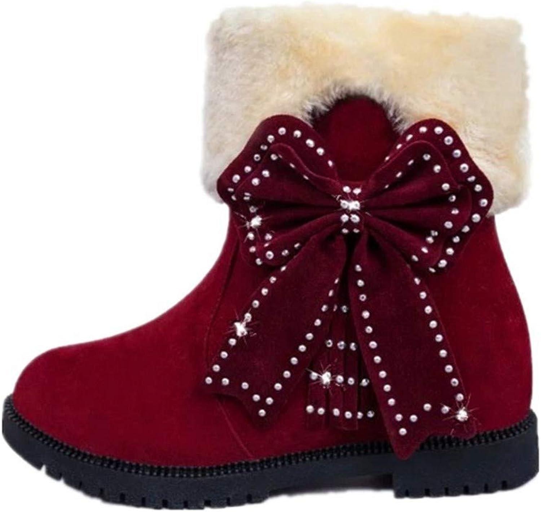 YSFU Stiefel Frauen Schneeschuhe Warme Weiche Weiche Weiche Bowknot Decor Rutschfeste Stiefel Damen Stiefelies Stiefelie Casual Herbst Winter Outdoor Flache Schuhe  92929c