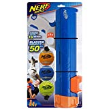 Nerf Dog Compact Tennis Ball Blaster Dog Toy, Great for Fetch, Hands-Free Reload, Launches up to 50 ft, Single Unit, Includes 3 Nerf Balls & Bag, Blue/Orange, Model: 5205