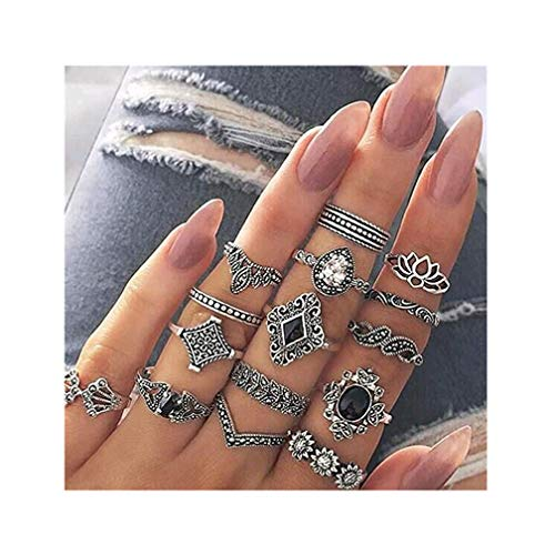LJSLYJ 15 Pcs Women Bohemian Vintage Silver Stack Rings Above Knuckle Rings Set Midi Finger Rings Jewelry