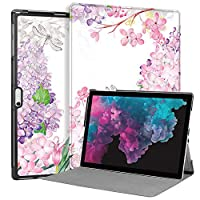 MAITTAO Microsoft Surface Pro 6 case 2018, Compatible with Type Cover Keyboard Stand Case for Surface Pro 6 / Pro 5 2017 / Pro 4 / Pro LTE 12.3-inch Tablet Sleeve Bag 2 in 1, Flowers & Leafs 6