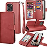 Tekcoo Wallet Case for iPhone 12 Pro Max (6.7 inch) 2020 Luxury ID Cash Credit Card Slots Holder Carrying Pouch Folio Flip PU Leather Cover [Detachable Magnetic Hard Case] Lanyard - Wine Red