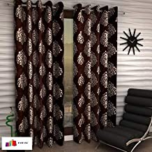 Home Ready 2 Piece Eyelet Polyester Long Door Curtain Set-Size-5 feet Long,Brown