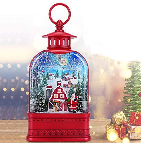 CaiFang Christmas Musical Lantern Snow Globe Water Glittering Singing Glitter Lantern Snow Globe Christmas Decor