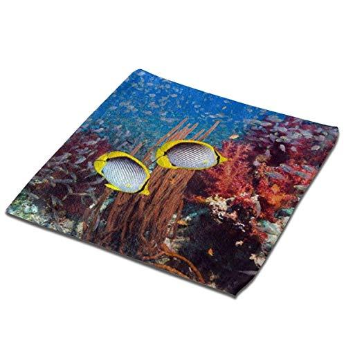 deyhfef Juego de 3 toallas de baño para baño, hotel, spa, cocina, multiusos con punta de dedos y paños faciales, 33 x 33 cm, arrecife de coral