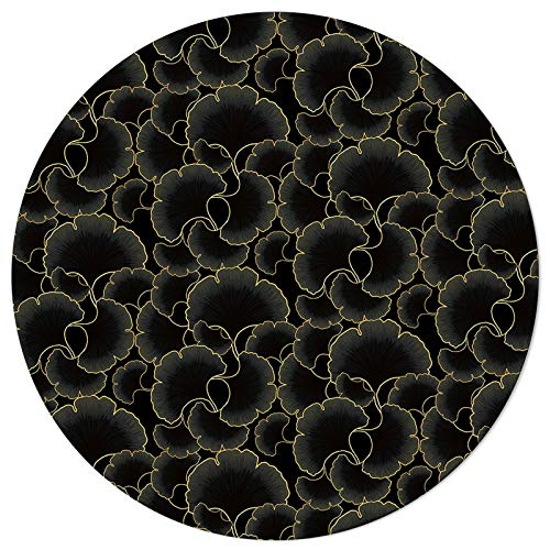 SunnyM Round Area Rugs Ginkgo Biloba Leaves Black Soft Indoors/Living Room/Bedroom/Children Playroom/Kitchen Mats Abstract Floral Non Slip Rubber Backing Yoga Carpets 5 ft Diameter
