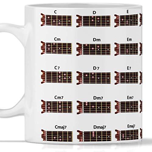Taza de acordes de guitarra totalmente impresa, apta para desayuno, tés, tisana, café. Ideal también como regalo para quien ama la música y la acordes Guitarra. Original y de gran efecto en cada lado.