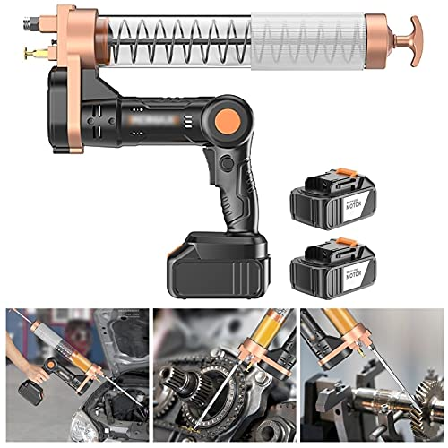 Hailong Cordless Electrical Pistol Grip Grease Gun, 12000 PSI Heavy Duty Grease Guns, Metal Extension, Normal Coupler and Sharp Nozzle (Color : Suitable barreled oil, Size : 2 x battery)