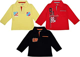 Hopscotch Baby Boys Cotton Full Sleeves Polo T-Shirt Pack of 3 in Multi Color