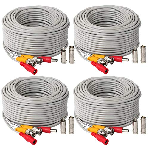4Pack 50Feet BNC Vedio Power Cable Pre-Made Al-in-One Camera Video BNC Cable Wire Cord Gray Color for Surveillance CCTV Security System with Connectors(BNC Female and BNC to RCA)