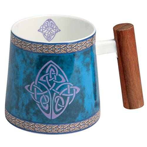 TeaLogic Porzellanbecher mit Rosenholzgriff Celtic - Becher Teetasse mit Blüten Motiv - Tea Logic Fine Bone China (350ml) (Blau)