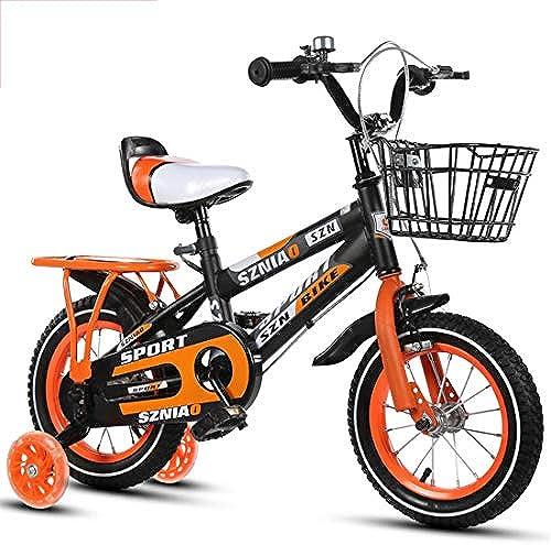 GRXXX Kinderfürrad mit Rücksitz Kinderwagen Rutsche Auto Roller Licht im Freien Verschlei ste Anti-Fall Boy Girl,Orange-14 inches