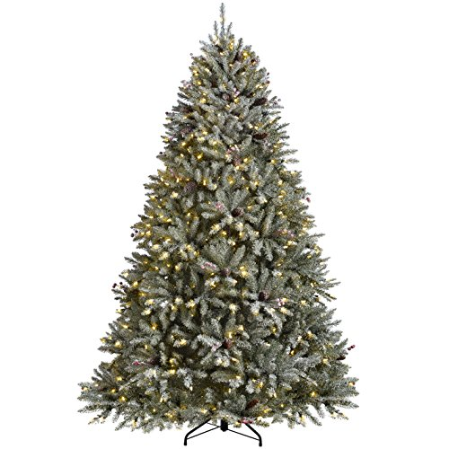WeRChristmas Pre-Lit Decorated Snow Flocked Christmas Tree with 600 Warm White LED Candle Lights, Green/White, 7 feet/2.1 m
