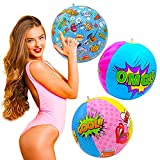 Set of 3 Pop-Art, Comics, Inflatable Float Balls, Theme Party Supplies...