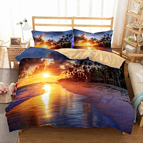 WGLG Double Bed Duvet Sets, Nordic Style Bed Linen Bedding Set Home Textile 3D Printed Sunset Scenery Duvet Cover Set And Pillowcase
