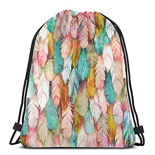 BXBX Plegable Drawstring Backpack Bag Sport Gym Sackpack Cinch Bag for School Yoga Gym Swimming Travel Unisex - Flight of Feathers Painted