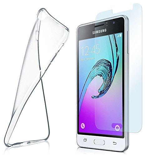 MoEx Custodia in Silicone Compatibile con Samsung Galaxy J3 (2016) [360 Gradi] Pellicola Protettiva in Vetro con Cover Posteriore per telefoni cellulari Compatibile con Samsung Galaxy-J3 2016