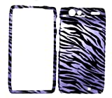 Purple Zebra Strips Snap on Hard Protective Cover Case for Motorola Droid RAZR XT912 + Microfiber Pouch Bag