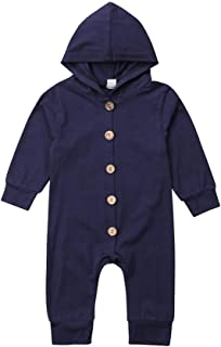 Baby Hooded Romper Newborn Boy Girl Long Sleeve Button Jumpsuit Bodysuit Clothes Outfits