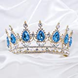 Tiaras and Crowns for Women,Golds Crown Cake Topper for Birthday Tiara Gorgeous Crystal metal Crown Prom Princess Crown for Costume Headband,Tiara for Women Wedding Bridal Crown Graduation Party Tiara (Turquoise)