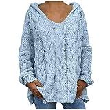FNKDOR Hoodies Pull Femme Sweat à Capuche Manches Chauve-Souris Sweater Hiver Automne Haut Grande Taille Tunique(Bleu Clair,M)