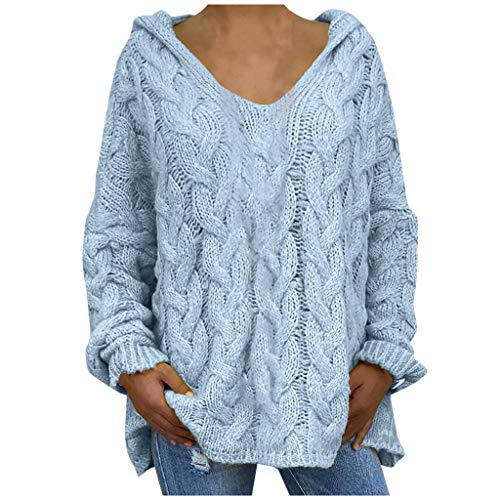 Whear Womens Hoodies Sweaters Cable Knit Long Sleeve Casual V Neck Pullovers Loose Plain Sweatshirts Long Tunic Tops(Light Blue,XX-Large)