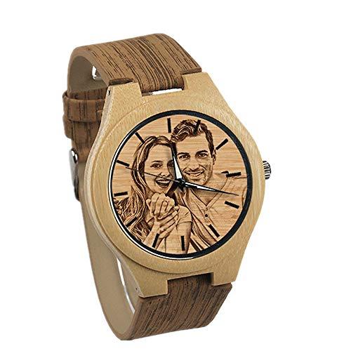 Reloj Personalizado de Madera Personalizado para Hombres con Foto grabada en la Cara del Reloj y Texto en la Parte Posterior para Regalo Personalizado