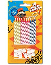Fun Its Cool Spiral Birthday Candles + Holders - 10 Pieces