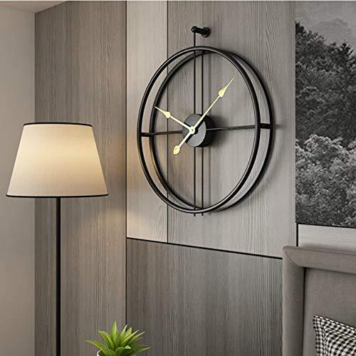 Poca-Home Wanduhr Uhr Ohne Tick Geräusche Modern Metall Deco Hochwertig Vintage Wohnzimmeruhr (Schwarz)