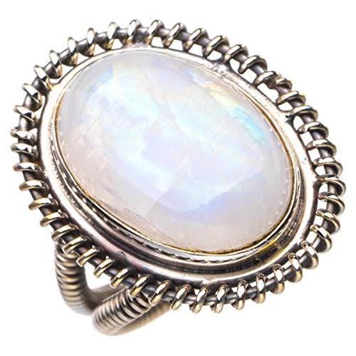 StarGems Anillo de plata de ley 925 con piedra lunar arcoíris natural hecho a mano K 1/2 D4497