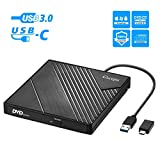 Lecteur DVD Externe USB 3.0 Type C, Lecteur Graveur CD DVD Externe USB C Laptop Mac, Enregistreur Portable RW/ROM Transmission Rapide pour Windows 10/8/7, Mac OS, Apple, Linux, Laptop PC (USB-C)