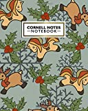 Cornell Notes Notebook: Cute Festive Cornell Note Medium Lined Paper Notebook | Large College Ruled Journal Note Taking System for School | Cute Rudolph Deer Pattern