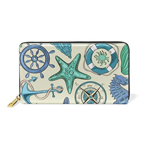 Schiffskompass Art Leder Brieftasche Reißverschluss Geldbörse Telefon Kreditkartenetui Portemonnaie Wallet für Frauen Mädchen Männer