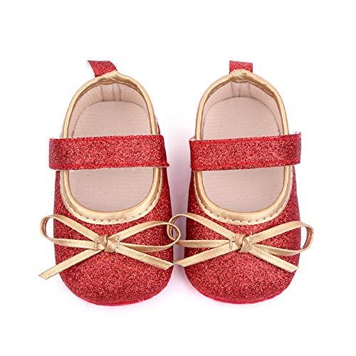 YWLINK Bebé NiñA Zapato De Princesa con Cinta MáGica para 0-30 Meses NiñOs Primeros Pasos Zapatos De Cuero con Lazo Casual Moda Antideslizante Flor Suave Suela