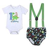 IBAKOM - Conjunto de ropa para bebé y niño, de manga corta, de algodón, con tirantes, para cumpleaños, para mujer Blanco 4 3-6 Meses