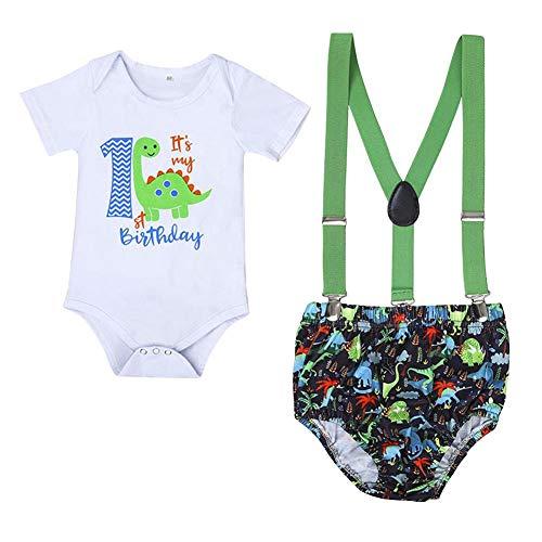 IBAKOM - Conjunto de ropa para beb y nio, de manga corta, de algodn, con tirantes, para cumpleaos, para mujer Blanco 4 0-3 Meses