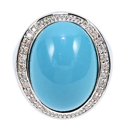 Judith Williams Modeschmuck Damen Ring für Frauen rhodiniert Türkis Imitation Zirkonia Geschenk RW17