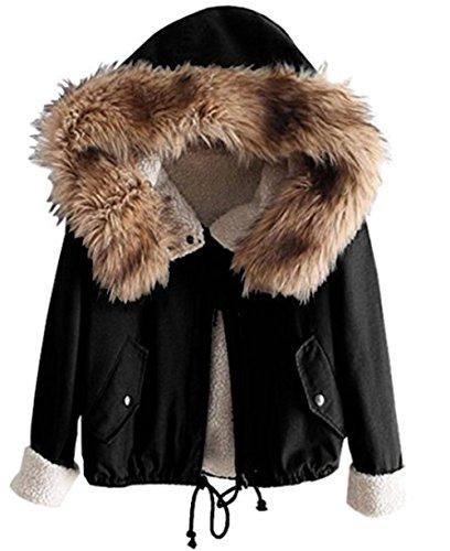 Sevenelks Damen Mädchen Winterjacke Jacke Mantel mit Kapuze Schwarz