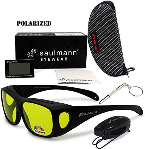 Saulmann® ✅ Polarisierte Unisex Überzieh Blendschutzbrille - Kontrast Outdoor- & Nacht Fahrbrille mit UV-Schutz gegen blendendes Licht und Antireflexbeschichtung - Polbrille SM5776